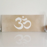 "Yoga ""OM"" - mid-size canvas white gold - Yoga Wall Art handmade written - original by misssfaith"