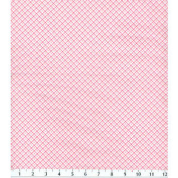 Pink White Diagonal Plaid Flannel Cotton Fabric, Quilting, 1 Yard, more yardage available