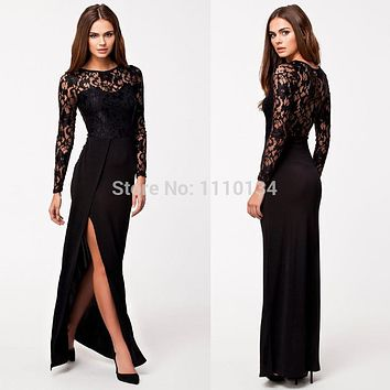 Vestidos Femininos New Women Sexy Hollow Out Bodycon Evening Party Dresses Thigh High Split Long Sleeve Lace Maxi Dress S1297