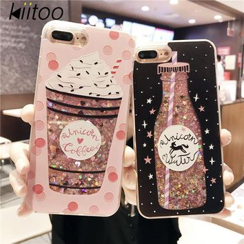Kiitoo Quicksand Phone Case For iPhone 7 6 6S Plus Cat Flower Perfume Coke Bottle Water Case Flowing Liquid Bling Shining Powder