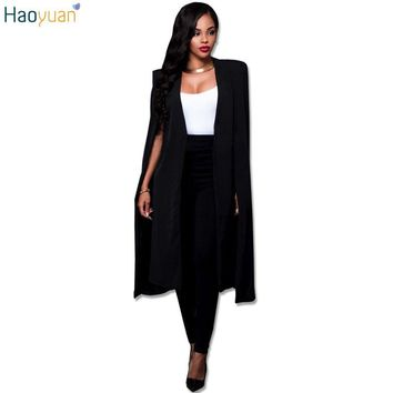 HAOYUAN Fashion Casual Trenchcoat Women Trench Coat Female Autumn Black White Cardigan Cloak Trench Coats Outwears Poncho Coat