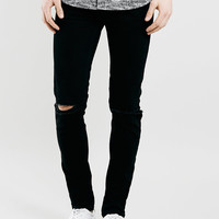 Black Ripped Knee Stretch Skinny Jeans - Topman