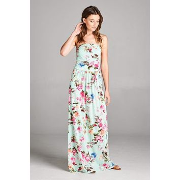 Summer Stunner Strapless Maxi Dress - Mint