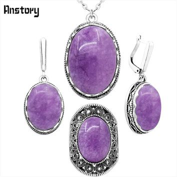 Oval Natural Violet Stone Jewelry Sets Necklace Earrings Rings Sets For Women Flower Pendant Antique Silver Plated Party Sets