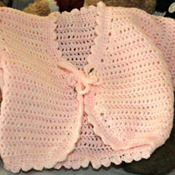 Baby crochet bolero cardigan sweater crochetyknitsnbits high quality baby girl clothes Hand made peach 9 to 18 months toddler birthday gift