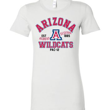 Official NCAA Venley University of Arizona Wildcats U of A Wilber Wildcat BEAR DOWN! Baseball Pac-12 Ladies Favorite Tee - uofa2441