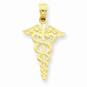 Solid 14k Yellow Gold Polished Caduceus Pendant