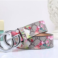 gucci women temperament fashion flower print gg letter needle buckle leather belt waistband-4