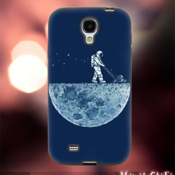 MC52Z,15,Astronaut,Walking on the moon,cartoon -Accessories case cellphone- Design for Samsung Galaxy S5 - Black case -Material Soft Rubber