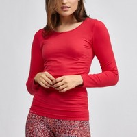 Seamless L/S Crew in Deep Red by Pure Lime | Tops | BANDIER