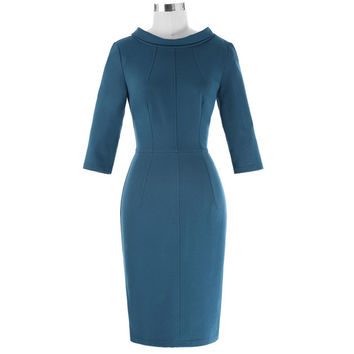 Womens Work Office Bodycon Dress Elegant Lapel Hips-Wrapped Ladies Casual Slim Pencil Female 3/4 Sleeve OL Sheath Party Dress