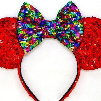 Red Sequin Ears and Rainbow Bow