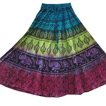 Mogul Womens Multi Color Skirts Tie-Dye Ethnic Printed Long Flared Skirt XS