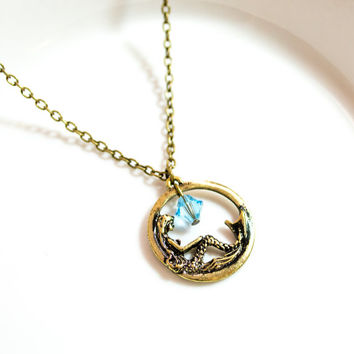 The Mermaid's Dream - Antique Bronze Necklace with Blue Crystal Bead