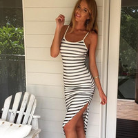 Asymmetrical Hem Stripe Strappy Slim Dress  12005