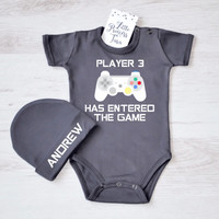 Player 3 Has Entered The Game. Gamer Baby Boy or Girl Clothes. Player Baby Bodysuit and Hat Set. Personalized Baby Outfit.