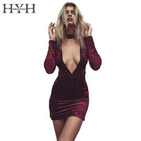 HYH HAOYIHUI Sexy Halter Lace Velvet Dress Women Side Split Party Bodycon Dress Autumn Winter High Waist Red Dress Vestido