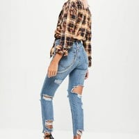 Missguided - Blue Ripped Back Stonewash Jeans