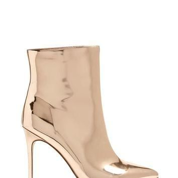 Faux Patent Metallic Ankle Boots