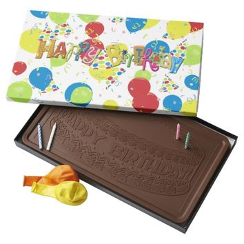 Happy Birthday Confetti Balloons 2 Pound Milk Chocolate Bar Box