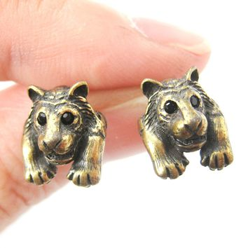 Tiger Realistic Animal Stud Earrings in Brass | Animal Jewelry