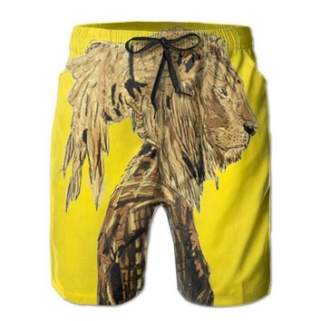 Lion Rasta Hair Cool Poster Mens Fashion Casual Beach Shorts