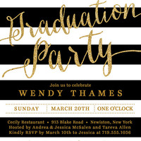Gold & Black Graduation Party Invitation Glitter Stripes Black Modern Script Bachelorette FREE PRIORITY SHIPPING or DiY Printable - Wendy