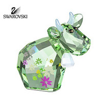 Swarovski Crystal Figurine Green Cow Lovlot FLOWER MO 2009 #1027911