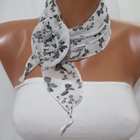 Chiffon Shawl/ Scarf  with flower clips NecklaceHeadband by DIDUCI