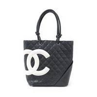 Chanel Cambon Line 25167 Women's Tote Bag Black,White usde from japan F/S