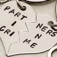 Partners in Crime Keychains | Gift For Best Friend | Best Bitches Key Chain | Hand Stamped Best Friend Keychains | Best Friend Gift