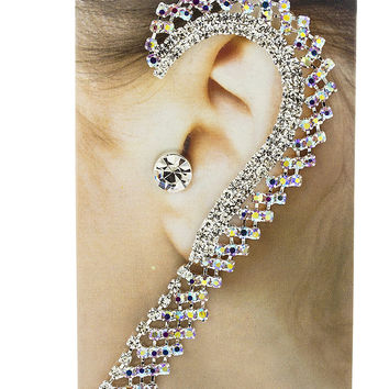 Fancy Bridal Style Ear Cuff Earrings with Rhinestones