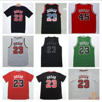 Chicago #23 #45 Michael Jordan basketball Jersey Stitched throwback jerseys Embroidery Retro Logos shirt Free Shipping OA011