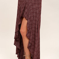 Captivating View Burgundy Print High-Low Skirt