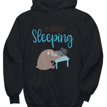 Festival of Sleep I'd Rather Be Sleeping Sloth on the Computer Hoodie