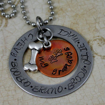 "Personalized Hand Stamped Stainless Steel Necklace  ""My Grandogs"""