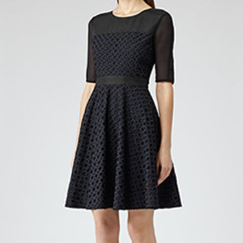 Saffron Black/navy Sheer Sleeve Fit And Flare Dress - REISS