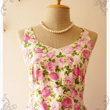 Summer Dress Floral Dress Rose Swing Dress Dancing Dress Mini Dress Tea Party Dress Vintage Style DressWhite with Pink rose -Size XS-S