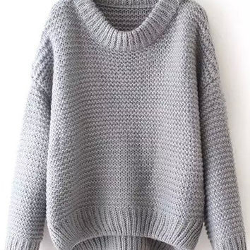 Grey Long Sleeve Knit Sweater