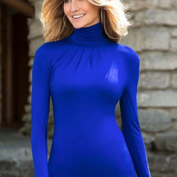 Cobalt Blue (COBA) Long Sleeve Turtleneck Top