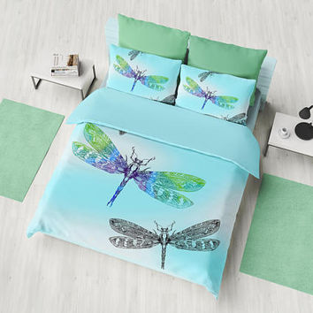 Dragonfly and Blue Sky Duvet Cover or comforter  - blue bedroom linens, beautiful dragonflies