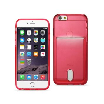 Reiko REIKO IPHONE 6 PLUS REIKO SEMI CLEAR CASE WITH CARD HOLDER IN CLEAR RED