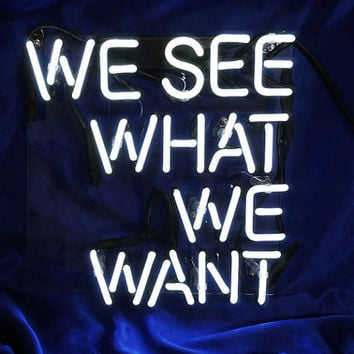 "Handmade 'We see what we want' Wedding Art Garage Neon Light Sign 10""x9"""