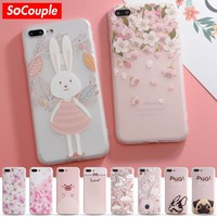 SoCouple Colorful Flower Rabbit Case For iphone 7 Case Cute Cartoon Animal Back Cover Phone Cases For iphone 6 6S 6/7/8 PLus 8 X