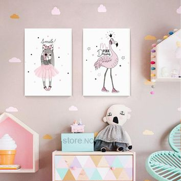 Pink Flamingo Nursery Wall Art