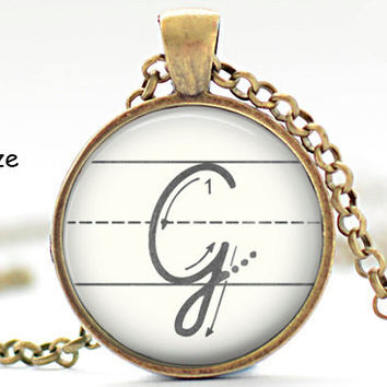 Initial G Necklace, Back to School, Teacher Gift, The Letter G Art Pendant, Cursive School Handwriting Charm, Alphabet Necklace