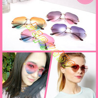 free ship lady fashion outdoor frameless sunglasses woman beach radient sunglasses retro metallic heart-shaped glasses UV protective eyewear