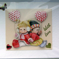 Love is - Hand-Crafted 3D Decoupage Card - With Love (1651)