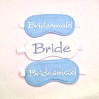 PARTY PACK Bride Bridesmaid embroidered cotton sleep eye mask Bridal party favor Bachelorette party pack