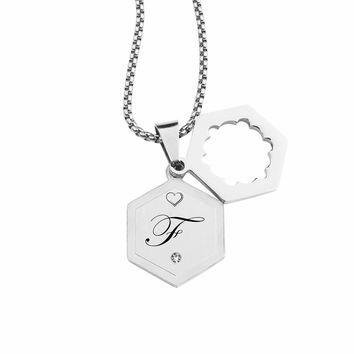 Double Hexagram Initial Necklace With Cubic Zirconia By Pink Box - F